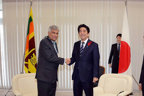 Ranil Wickremasinghe and Shinzo Abe