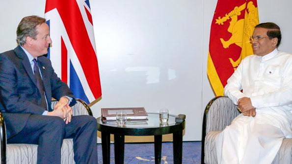 British Prime Minister David Cameron with Sri Lanka President Maithripala Sirisena