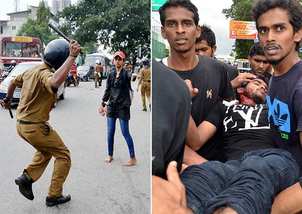 Police attack on HNDA students in Sri Lanka