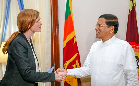 Samantha Power with Maithripala Sirisena