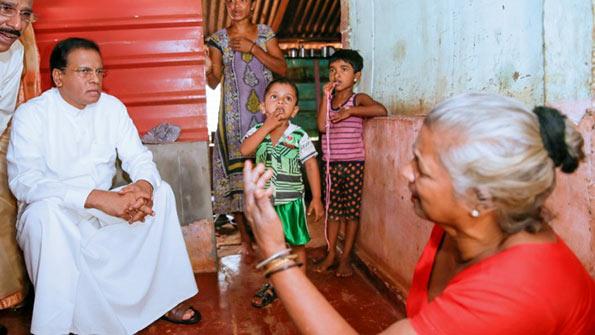 Sri Lanka President Maithripala Sirisena meets people in Jaffna