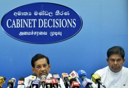 Rajitha and Gayantha at Cabinet Decisions press - Sri Lanka