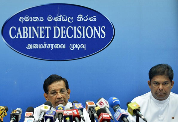 Rajitha and Gayantha at Cabinet Decisions press - Sri Lanka