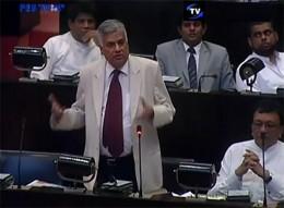 Prime Minister Ranil Wickremasinghe at Sri Lanka Parliament