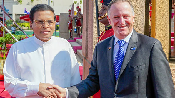 Prime Minister of New Zealand John Phillip Key with President of Sri Lanka Maithripala Sirisena