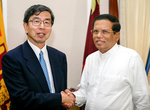 Sri Lanka President Maithripala Sirisena with ADB President Takehiko Nakao