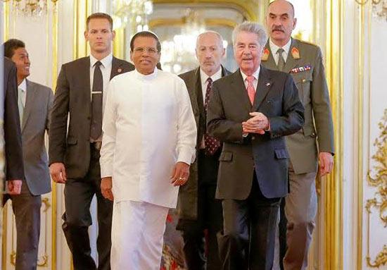Sri Lanka President Maithripala Sirisena with Federal President of Austria Heinz Fischer