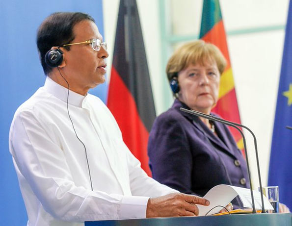 Sri Lanka President Maithripala Sirisena with German Federal Chancellor Dr. Angela Merkel