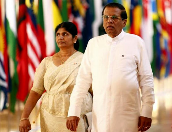 Sri Lanka President Maithripala Sirisena with his wife