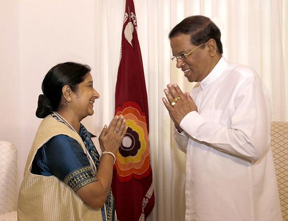 Sushma Swaraj with Sri Lanka President Maithripala Sirisena