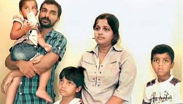 Sri Lankan Tamil refugee K. Dhayabararaj and his family