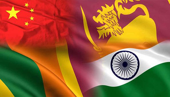 Sri Lanka China India flags