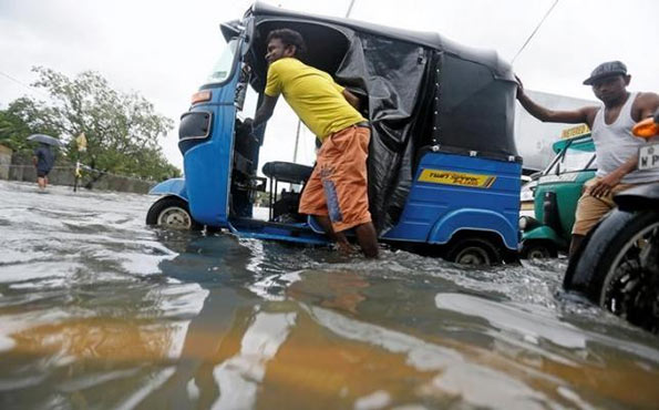 Flooded road in Sri Lanka