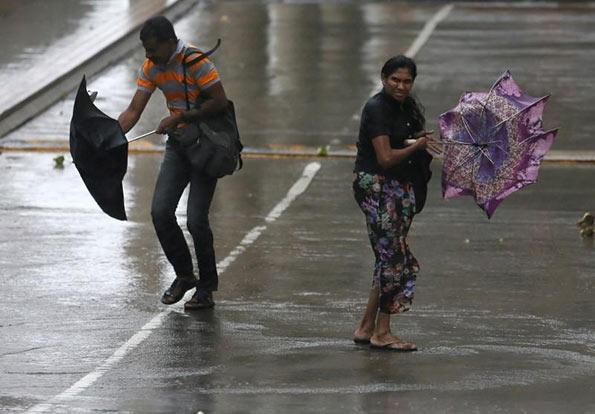 Flooded road in Sri Lanka