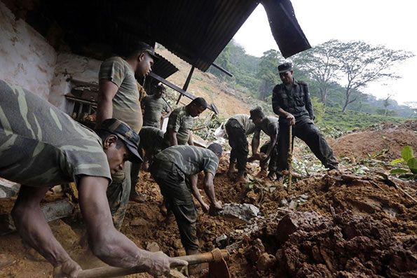 Rescue operations at the landslide site in Sri Lanka