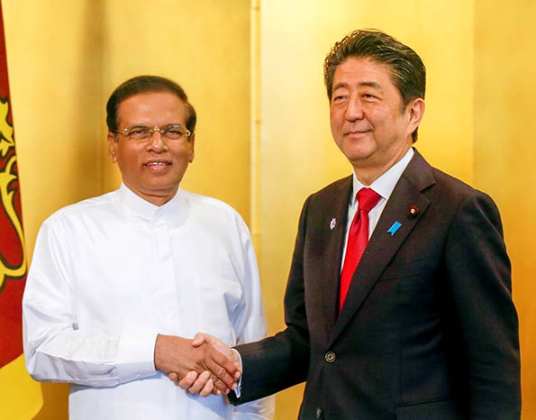 Shinzo Abe - Prime Minister of Japan and Maithripala Sirisena - President of Sri Lanka