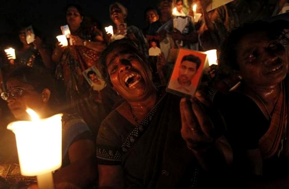 Family members of missing people in Sri Lanka
