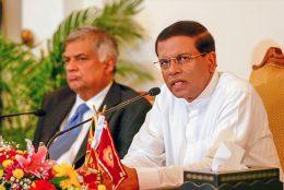 Sri Lanka President Maithripala Sirisena with Prime Minister Ranil Wickremasinghe