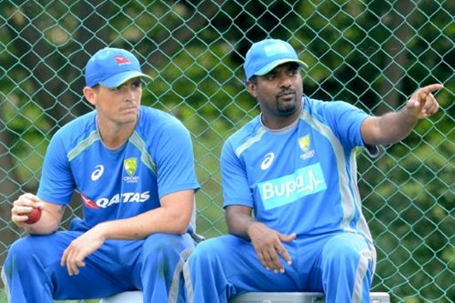 Muttiah Muralitharan with Stephen O'Keefe