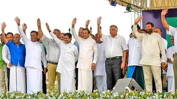 President Maithripala Sirisena and Ranil Wickremasinghe at Matara