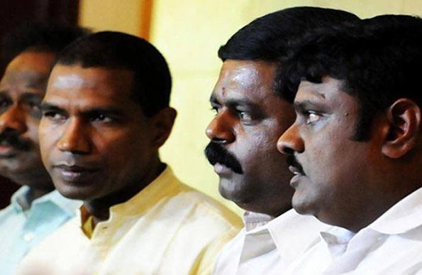 Sri Lankan MPs Sivagnanam Siritharan, Charles Nirmalanathan and Velukumar