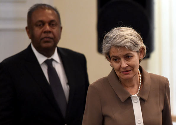 UNESCO Director General Irina Bokova (R) and Sri Lanka's Foreign Minister Mangala Samaraweera