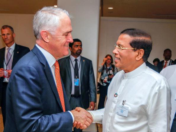 Australian Prime Minister Malcolm Turnbull meets Sri Lanka President Maithripala Sirisena