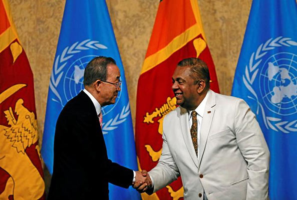 Ban Ki-Moon with Mangala Samaraweera