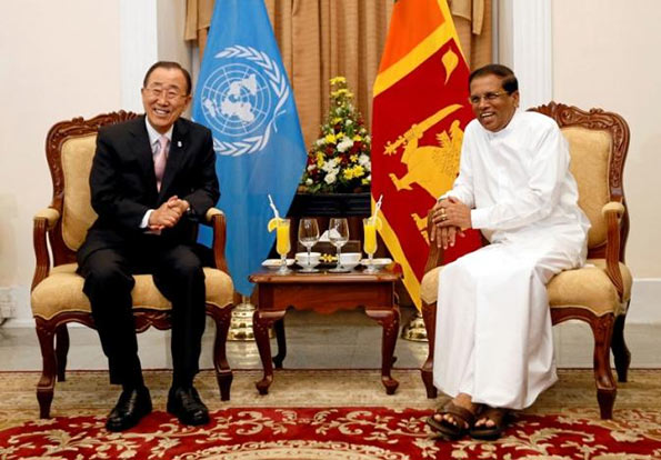 Ban Ki-Moon with Sri Lanka President Maithripala Sirisena