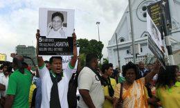 Protest on Lasantha Wickrematunge murder case