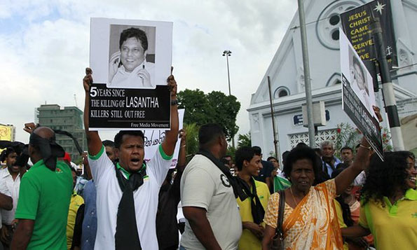 Protest on Lasantha Wickrematunge murder case