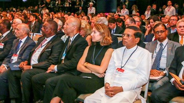 Sri Lanka President Maithripala Sirisena at Clinton Global Initiative meeting