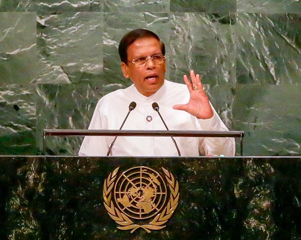 Sri Lanka President Maithripala Sirisena at United Nations UN General Assembly