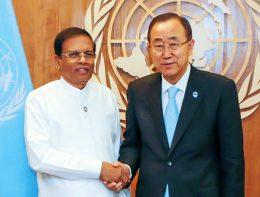 Sri Lanka President Maithripala Sirisena with Ban Ki-Moon