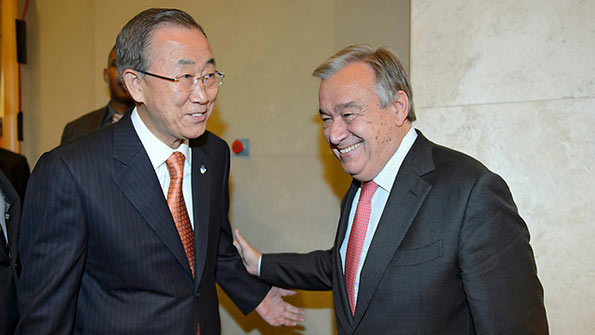 Ban Ki-Moon with Antonio Guterres