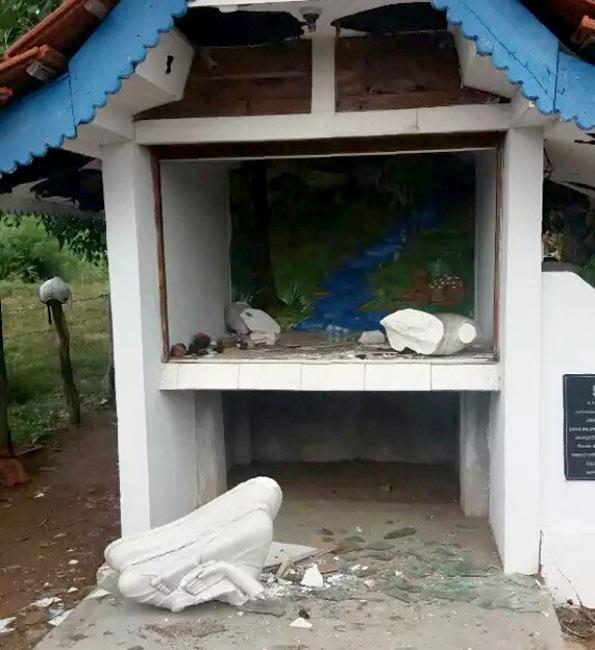 Buddha statue vandalised
