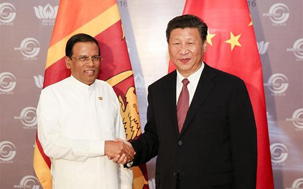 Chinese President Xi Jinping met with Sri Lankan President Maithripala Sirisena
