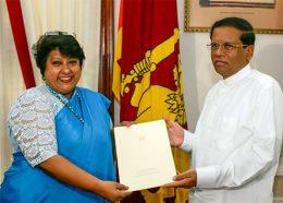 Dilrukshi Dias Wickramasinghe with President Maithripala Sirisena