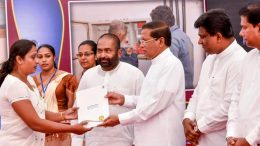 President Maithripala Sirisena hand over appointment letters to new employees of the Ceylon Electricity Board