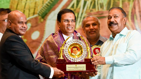 Sri Lanka President Maithripala Sirisena at All Ceylon Tamil Language Day awards ceremony