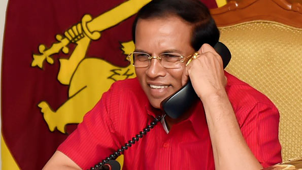 Sri Lanka President Maithripala Sirisena is on telephone conversation