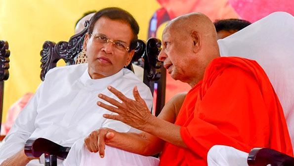 Sri Lanka President Maithripala Sirisena with Venerable Galaboda Gnanissara thero