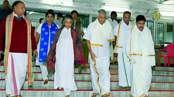 Sri Lanka Prime Minister Ranil Wikramasinghe, offered prayers at Lord Balaji's shrine atop the Tirumala hills