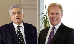 New Zealand trade minister Todd McClay and Sri Lankan Prime Minister Ranil Wickremesinghe