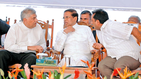 President Maithripala Sirisena and Prime Minister Ranil Wickremesinghe at Volkswagen vehicle assembly plant in Kuliyapitiya