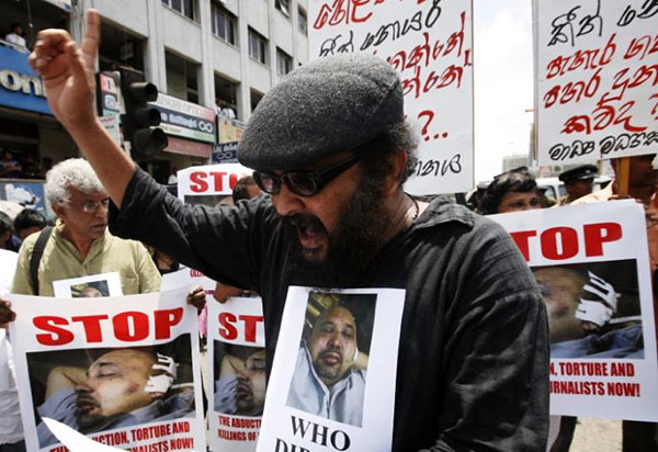 Protest on journalist Keith Noyahr in Sri Lanka