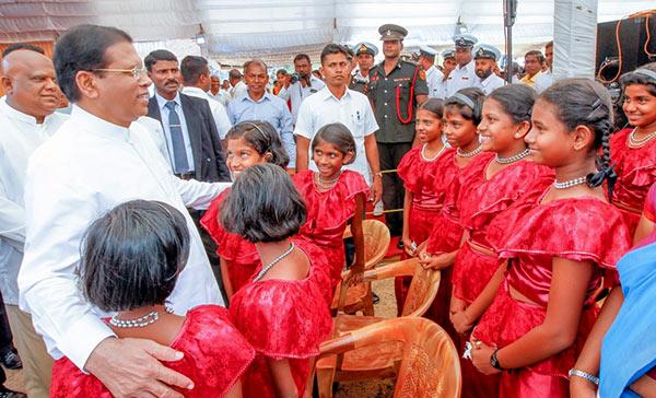 Sri Lanka President Maithripala Sirisena with children