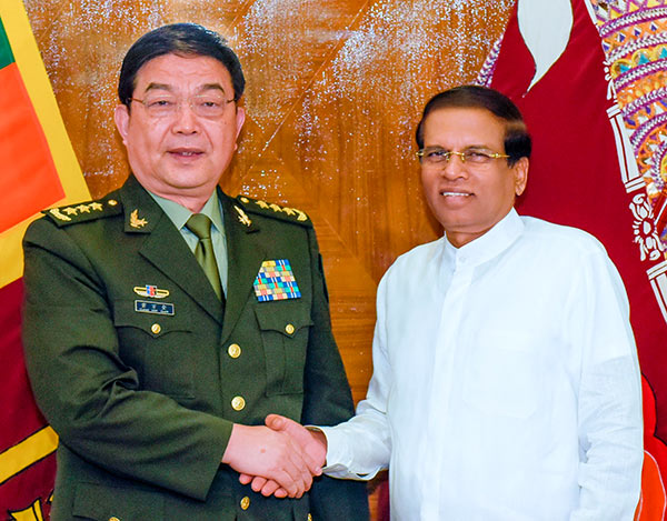 General Chang Wanquan met Sri Lanka President Maithripala Sirisena