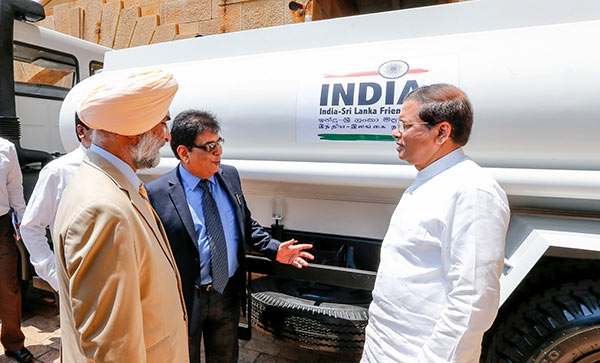 India donates water bowsers to Sri Lanka