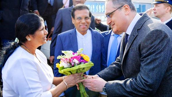 Sri Lanka President Maithripala Sirisena at Moscow Airport
